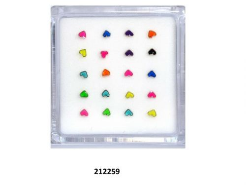 Καρδούλα σκουλαρίκι μύτης μιξ χρώματα