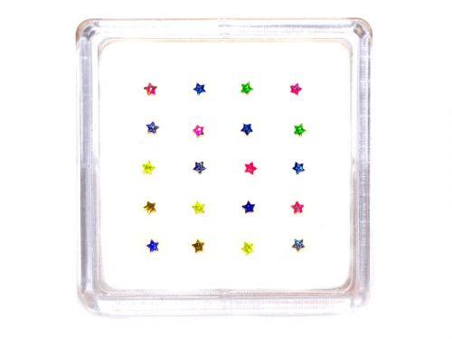 Ασημένιο σκουλαρίκι μύτης αστεράκι με glitter