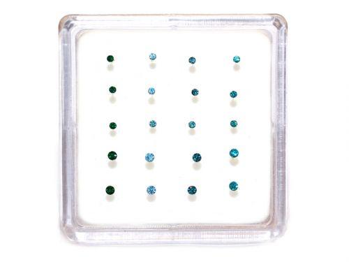 Ασημένιο σκουλαρίκι μύτης κολλητό 1,5/2mm πετρόλ αποχρώσεις