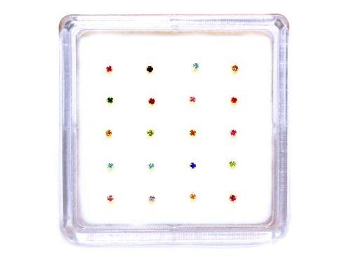 Ασημένιο σκουλαρίκι μύτης 1,5mm με 4 γαντζάκια μιξ χρώματα