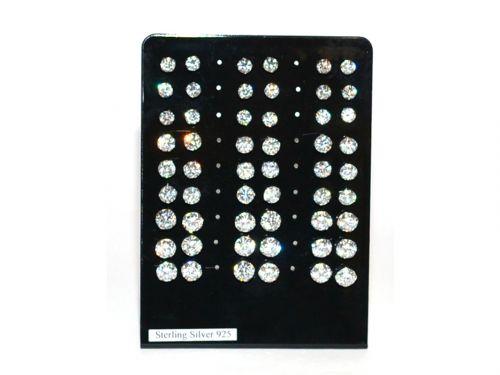 Ασημένιο σκουλαρίκι αυτιών 5/6/7mm λευκό στρας με γαντζάκια