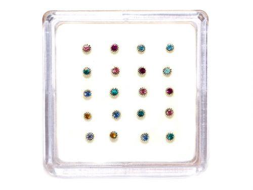 Ασημένιο σκουλαρίκι μύτης 3mm χρώμα στρας με σύρμα αντικέ