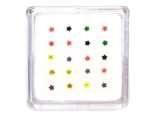 Σκουλαρίκι μύτης άστρο μιξ χρώματα