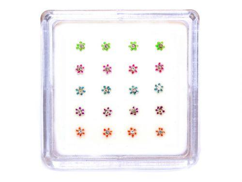 Σκουλαρίκι μύτης λουλούδι με πέτρα μιξ χρώματα