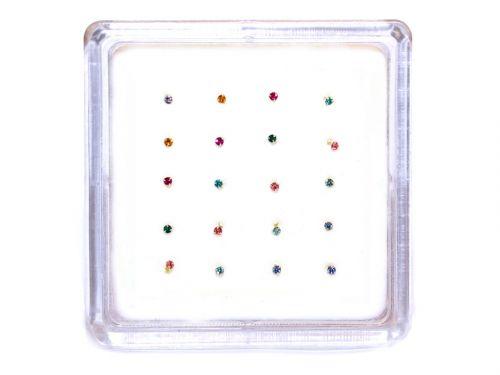 Ασημένιο σκουλαρίκι μύτης 1,2mm μιξ χρώματα με 3 γαντζάκια
