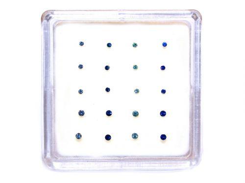 Ασημένιο σκουλαρίκι μύτης κολλητό 1,5/2mm μπλε αποχρώσεις