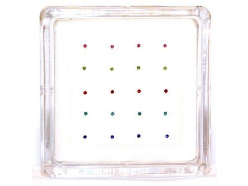 Ασημένιο σκουλαρίκι μύτης 1mm μιξ χρώματα κολλητό