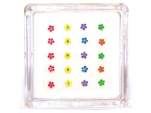 Σκουλαρίκι μύτης λουλούδι μιξ χρώματα
