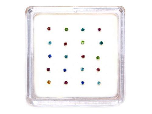 Ασημένιο σκουλαρίκι μύτης 1,8mm με γαντζάκια μιξ χρώματα