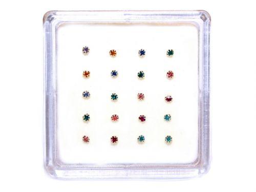 Ασημένιο σκουλαρίκι μύτης 2,5mm με γαντζάκια μιξ χρώματα