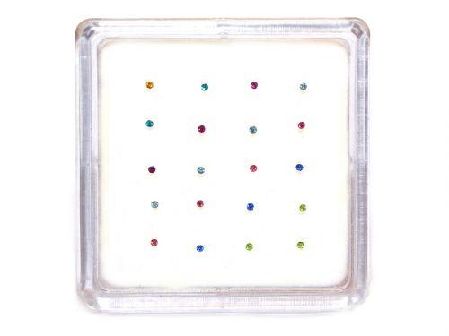 Ασημένιο σκουλαρίκι μύτης 1,2mm κολλητό μιξ χρώματα