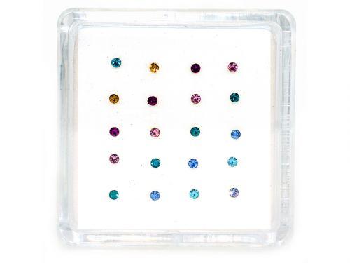 Ασημένιο σκουλαρίκι μύτης 2,5mm κολλητό μιξ χρώματα
