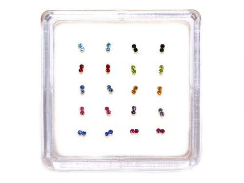 Ασημένιο σκουλαρίκι μύτης κολλητό διπλό στρας μιξ χρώματα